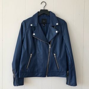 FOREVER 21 ELECTRIC BLUE FAUX LEATHER MOTO JACKET